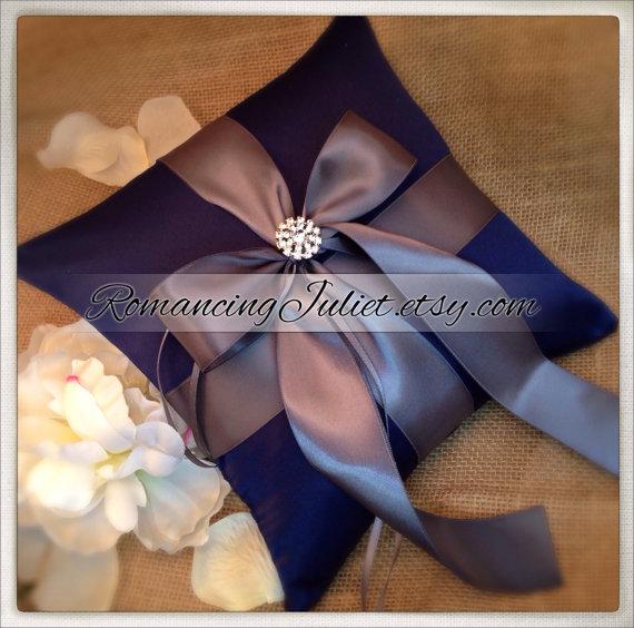 زفاف - Romantic Satin Elite Ring Bearer Pillow...You Choose the Colors...Buy One Get One Half Off...shown in Navy blue/pewter gray
