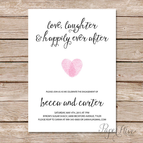 Wedding - Printable engagement party invitation / Modern Wedding / Love Laughter and Happily Ever After / printable digital file