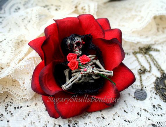 day of the dead wedding halloween costume head piece sugar skull halloween hair clip accessory dia de los muertos folk art steampunk
