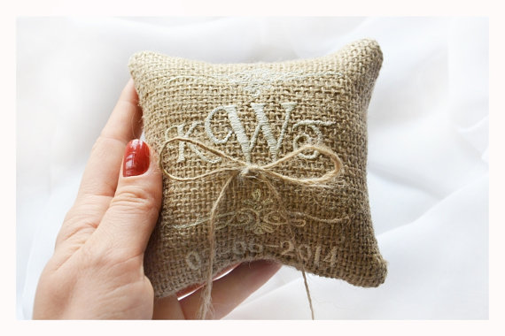 Wedding - Embroidered Burlap Wedding ring pillow ,4x4 wedding pillow , ring pillow, ring bearer pillow with Custom embroidery (LR4)