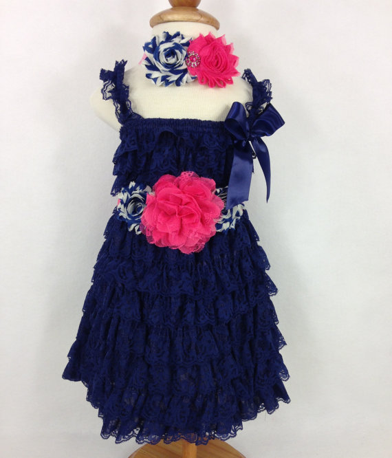 Wedding - Navy and Hot Pink Complete Petti Lace Dress Set with Sash & Headband - Baby Photo Prop -Birthday Outfit -Flower Girl Dress -Special Occasion