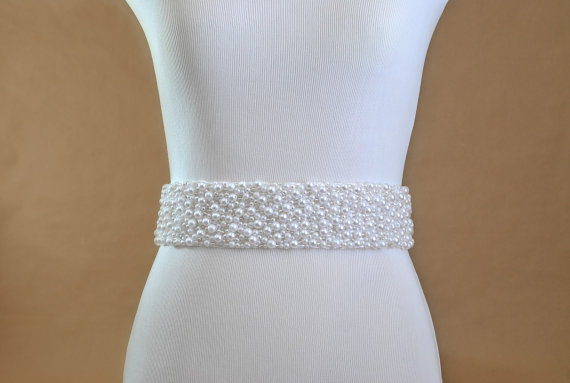 Mariage - Beaded Wedding Sash: Pearl Bridal Accessory, Belt, Silver, White
