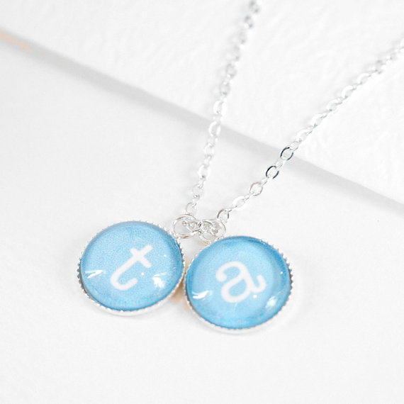 Mariage - Flower Girl Necklace, Personalized Necklace, Bridesmaid Gift, Two Initial Monogram Necklace, Bridal Jewelry, Wedding Gift, P029
