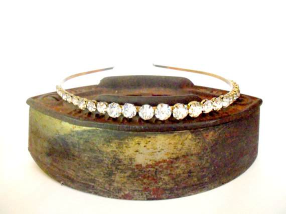 Mariage - Headband Rhinestone Bridal Headband, Graduated Rhinestones Copper Band, Vintage Bridal Head Piece, Veil Headband, 1940s Hair Accessory