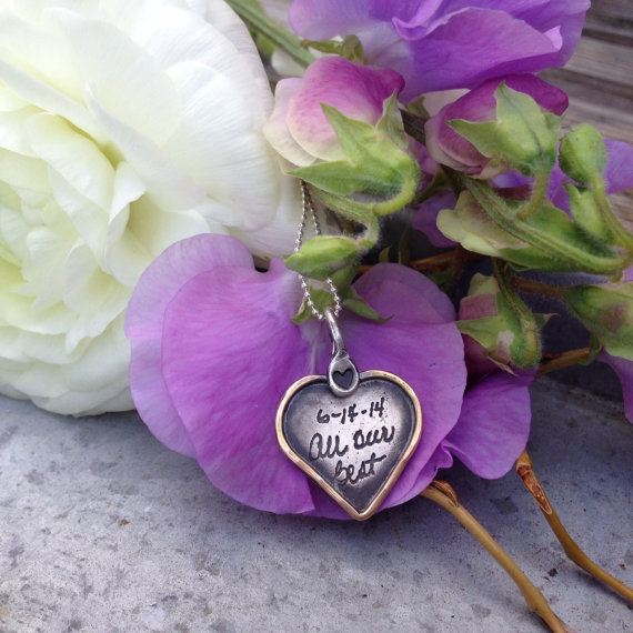 Hochzeit - Personalized Heart Necklace-Bridal Bouquet Charm-Handwriting Jewelry