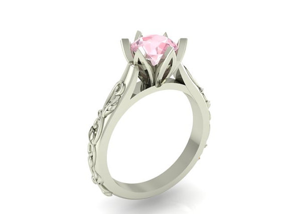 Свадьба - Morganite Ring, Bridal Solitaire Ring, Wedding or Engagement Modern Ring made with solid 14 karat gold
