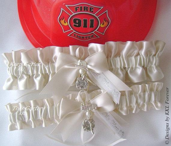 Свадьба - Firefighter Wedding Garters Maltese Cross Charms Handmade Light Ivory Garters