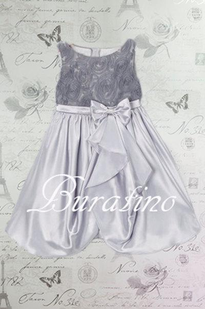 Hochzeit - Flower Girl  Dress Grey Rosette Embroidered Satin  Girls Toddler Christmas Special Occasion Dress Size 2T-14