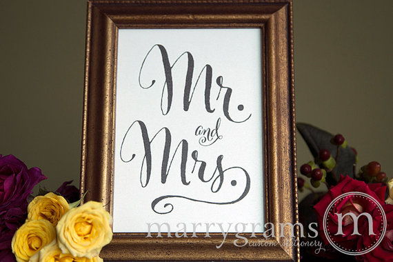Wedding - Mr. and Mrs. Table Card Sign - Sweetheart Table Wedding Reception Seating Signage - Lovebird Table Sign - Matching Numbers Available SS07