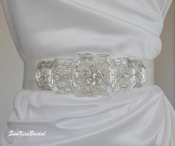 Свадьба - Hand Beaded Crystal Bridal Sash with Rhinestones and Swarovski Pearls, Art Deco Wedding Gown Belt