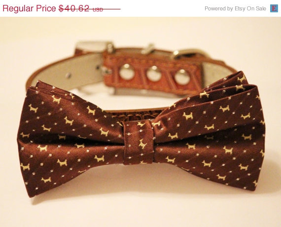 Mariage - Brown Dog Bow Tie - Brown Dog Bow tie with high quality Brown leather, Chic and Elegant, Wedding Dog Accessory
