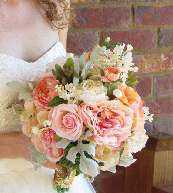 Pink, Peach, & Ivory Wedding Bouquet With Succulents, Ready To Ship ...