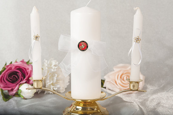 Hochzeit - Military Wedding Unity Candle and Taper Set - Air Force - Navy - Army - Marines - 3500
