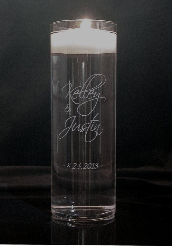 Wedding - Personalized Wedding Floating Unity Candle and Vase 3