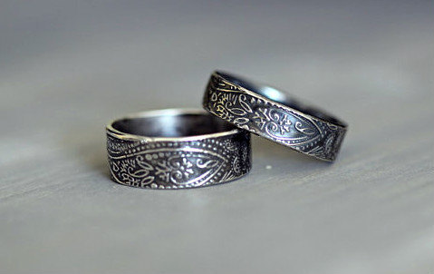 sterling silver wedding rings paisley embossed rustic wdding band his and hers wedding set wide band engagement ring promise ring - Rustic Wedding Rings