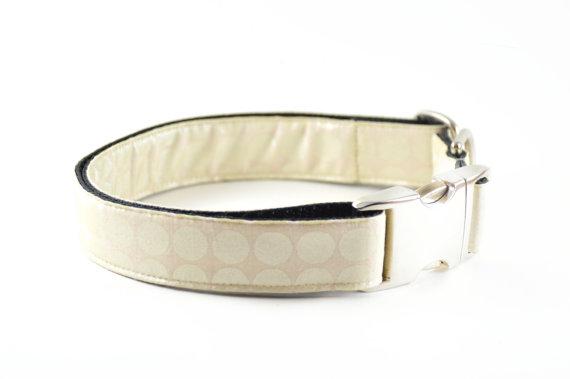 Свадьба - Cream Metallic Dog Collar, Shimmer Champagne Metal Buckle Polkadots Wedding Dog Collar