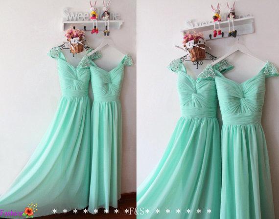 Y Long Chiffon Mint Bridesmaid Dress Pearl Evening Prom