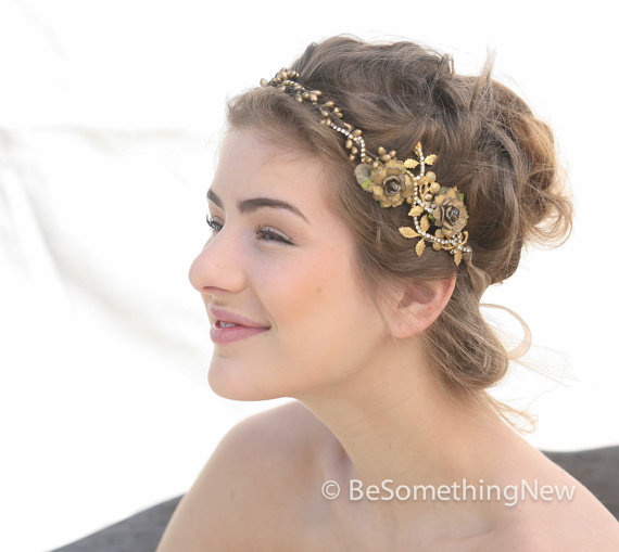Mariage - Wedding Woodland Golden Bridal Hair Wedding Accessory with gold leaves Rustic Wedding Headpiece Wedding Crown, Vintage Style Bridal headband