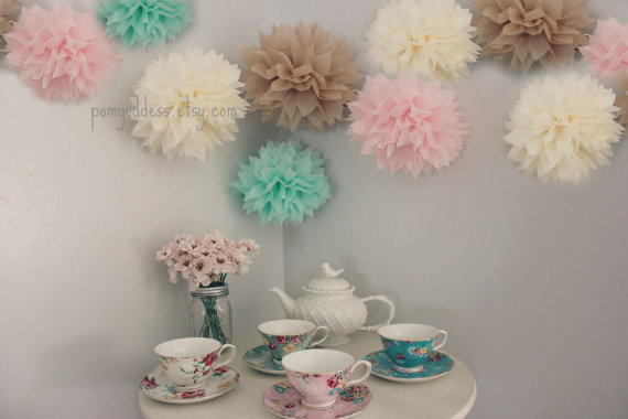 Mint And Pink 10 Tissue Pom Poms Wedding Reception Decorations Shabby Ceremony Nursery Decor Diy