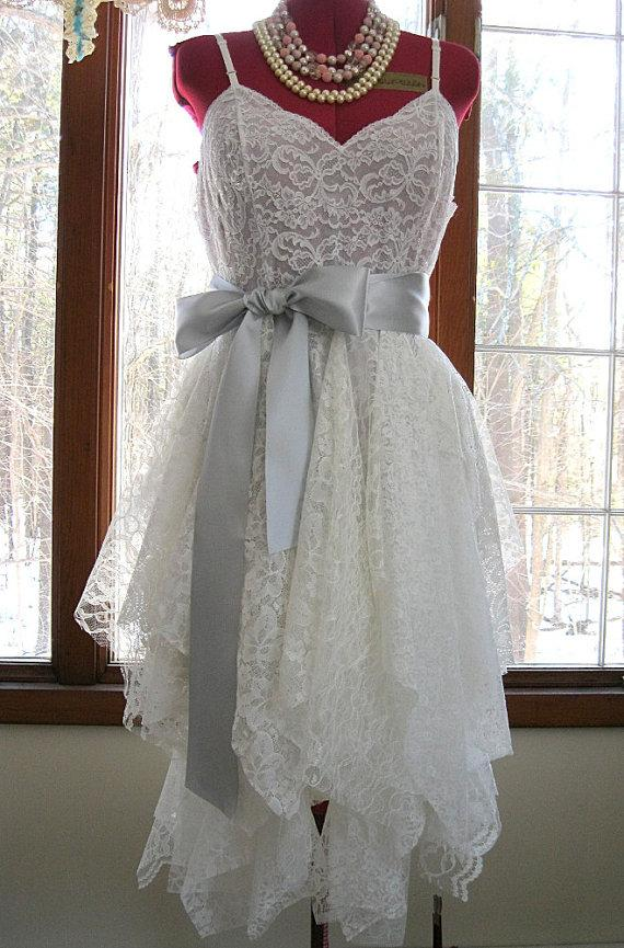 Свадьба - Off White Ivory tattered alternative bride boho bohemian hippie gypsy wedding dress, recycled / vintage laces, US size 14, Bohemian Queen