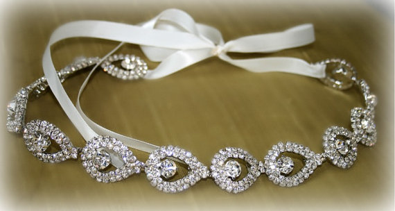 Hochzeit - Rhinestone Bridal Headband- ELSIE- Wedding Headpiece, Rhinestone Headband, Bridal Headpiece, Hair Accessories