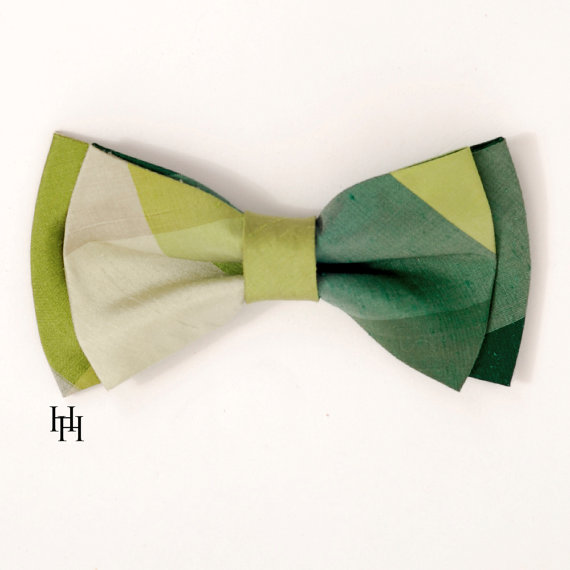 Mariage - Silk Men's Bow Tie Green colorblock plaid / LIMITED EDITION / Groomsmen / Ringbearer