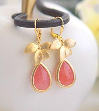 Mariage - Coral Pink And Gold Orchid Teardrop Drop Earrings. Coral Pink Dangle Bridesmaid Earrings. Jewelry Gift For Her