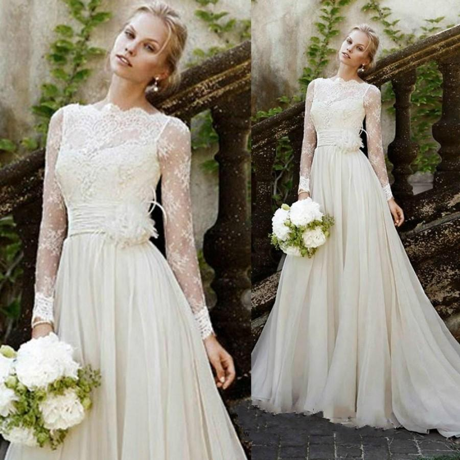 2015 New Design Vintage Wedding Dresses Illusion Garden Sash Lace Long  Sleeve Bridal Dresses Ball Gowns A Line Chiffon Vestido De Marriage Online  With ...