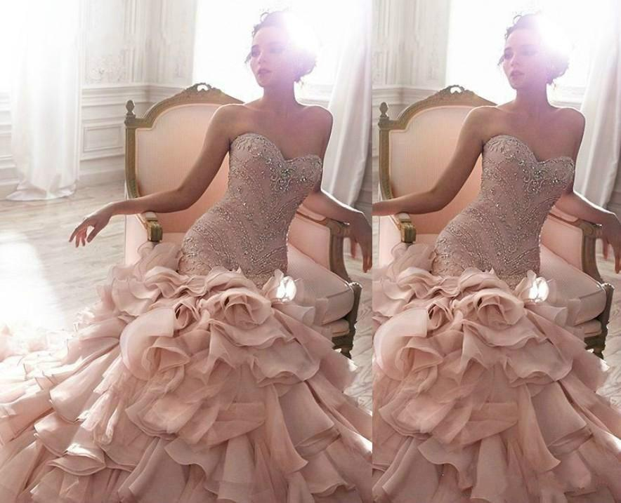 2015 Mermaid Wedding Dresses Pink Tiers Organza Sweetheart Beading ...