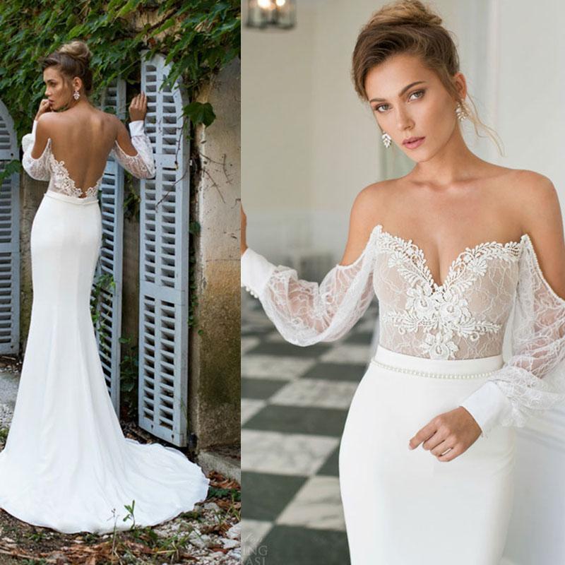 2015 julie vino long sleeve lace mermaid wedding dresses for Backless sheath wedding dresses