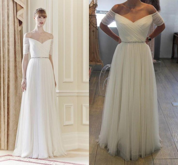 2017 Jenny Packham Real Image White Vintage Wedding Dresses Bare Back Bridal Gowns A Line Off Shoulder Party Pleated Ball Gown Arabic Online With