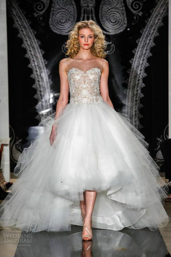 2015 High Low Wedding Dresses Sweetheart Lace Ruffled Sexy See Through Pleated Vestido De Noiva Tiered A Line Up Bridal Ball Gowns Online With