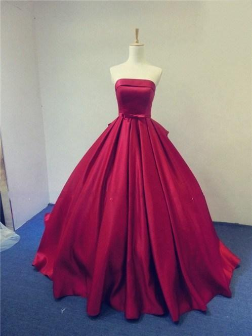 cf489f9f7716c3 2015 Real Image Wedding Dresses Red Satin Sweep Train Ball Gowns Color  Strapless Bridal Ball Dresses Sweep Length Vestido De Novia Custom Online  with ...