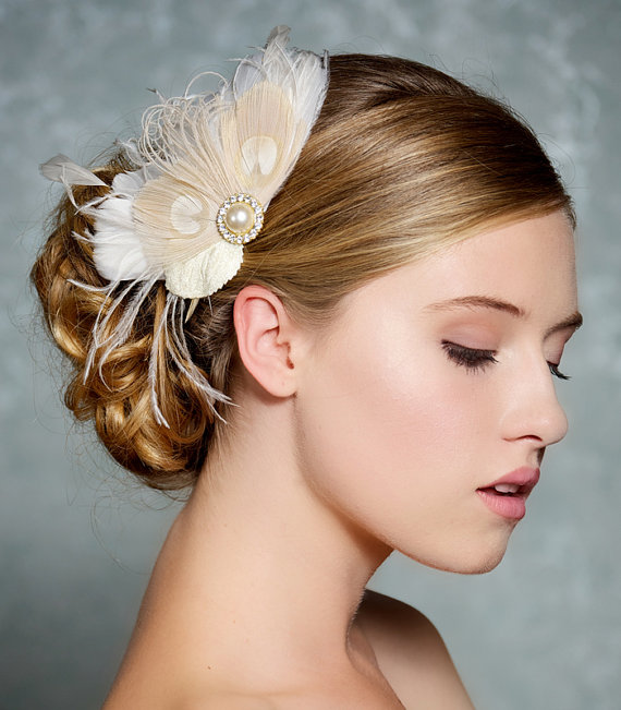 Wedding - Ivory Bridal Hair Accessories Champagne Peacock Feather Fascinator Wedding Hair Clip Vintage Velvet Leaves, Ivory Feather Bridal Headpiece