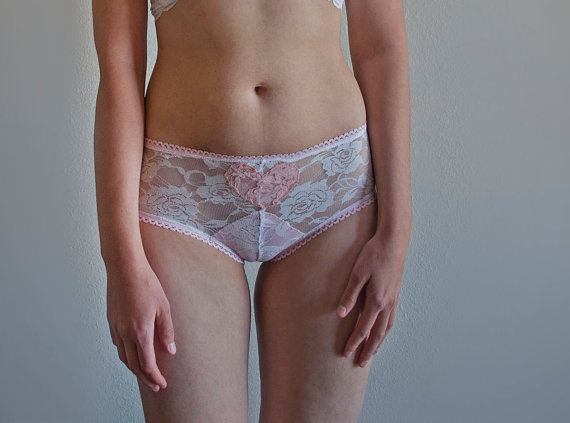 Свадьба - White Lace and Pink Sheer Panties. Peach Lace Heart. Feminine Lace Lingerie