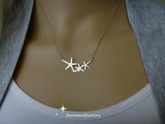 Wedding - Starfish Necklace - Sea Star Jewelry - Beach Wedding - Bridesmaids Gifts - Star Necklace - Silver