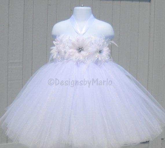 White Flower Girl Dress PICK ANY SIZE White Tutu Dress White Dress ...