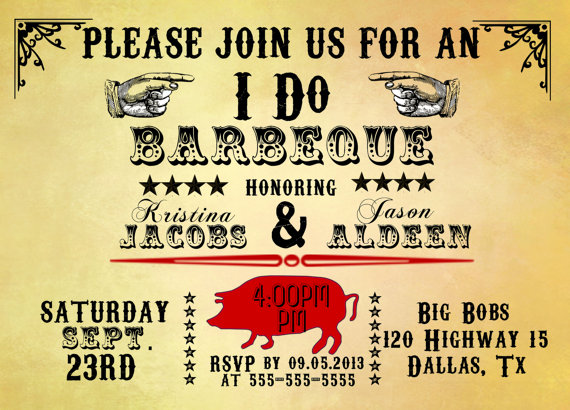 I DO BBQ Invitation Barbeque Invitation Rustic Invitation Wedding