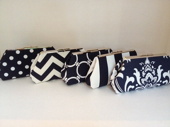 Mariage - Multiple Clutch Discount for Navy Blue and White Clutch Purses with Nickel/Silver Finish Frame, Bridesmaid Clutch, Purse, Wedding, Nautical