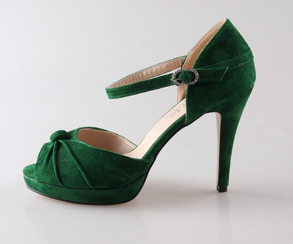 Mariage - Dark green emerod sheepskin leather shoes , suede leather D'orsay heels wedding bridal bridalmaids shoes , vintage clip shoes