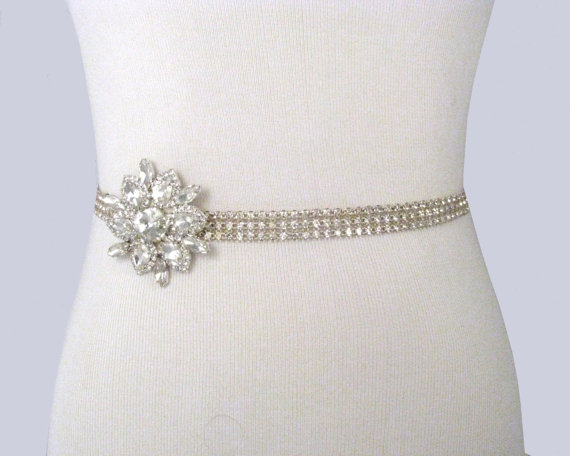 Mariage - Wedding Sash, Crystal Rhinestone Bridal Belt, Satin Ribbon Dress Sash, Beaded Bridal Belt, Jeweled Satin Wedding Gown Sash / 35 Satin Colors