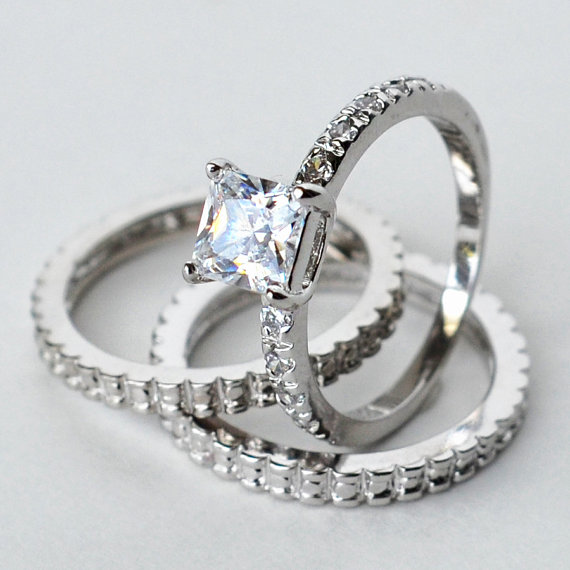 Mariage - cz ring, cz wedding ring, cz engagement ring, wedding ring set, ring set, cz wedding set cubic zirconia size 5 6 7 8 9 10 - MC1082691AZ