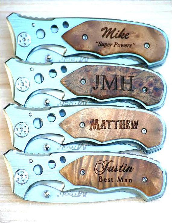 Mariage - Groomsman Gift, Groomsman Pocket Knives, Personalized Groomsman Knife, Best Man and Groomsmen Knife, Folding Knife, Groomsmen Best Man Gift