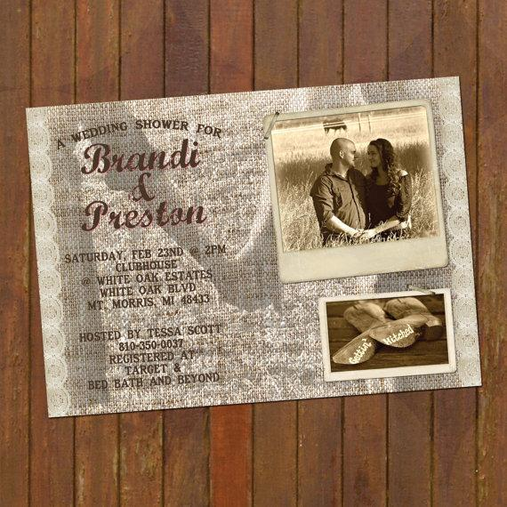 Hochzeit - Wedding Shower Invitations -- include 2-3 pictures - printable Rustic & Lace