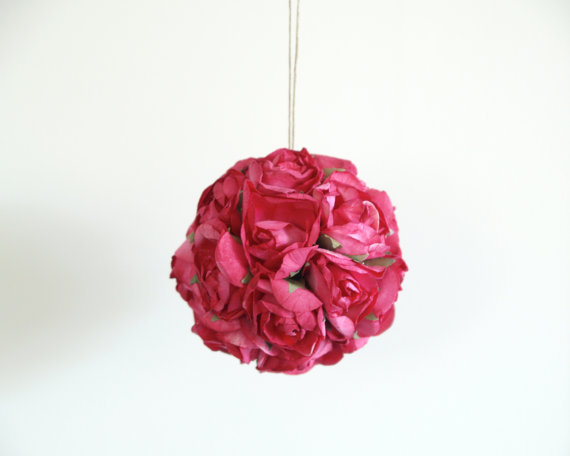 Wedding - Fuschia Wedding Pomander made from vintage Fuschia Red paper roses Decorations Photo Prop Pink