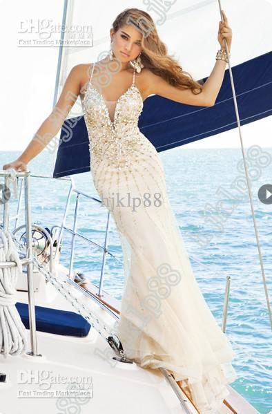 Свадьба - Stunning!2015 New Sexy Deep V Open Back Beaded Magnificent Evening Dresses Party Dresses Prom Dresse Online with $120.62/Piece on Hjklp88's Store