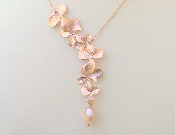 Hochzeit - Cascading Orchid Necklace - Rose Gold Lariat Statement Pearl Bridal Necklace Bridesmaids Wedding Gift
