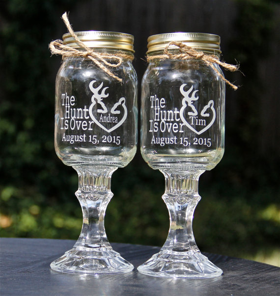 Mariage - 2 Redneck Wine Glass, 2 Personalized Etched Glass