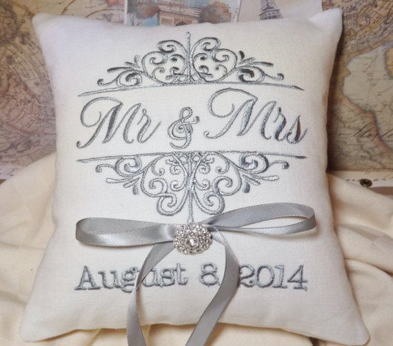 Monogram Wedding Ring Bearer Pillow: Ring Bearer Pillow, Mr. And Mrs., Ring Bearer Pillows