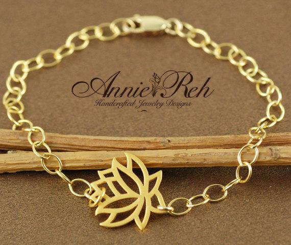 زفاف - Gold Lotus Bracelet, Yoga Inspired Jewelry, Bridesmaid Gifts, Bridal Jewelry, Lotus Jewelry